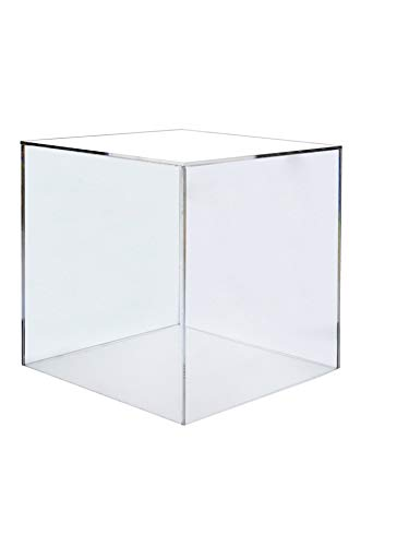 "Marketing Holders 6"" Cube Riser Box / 5 Sided Premium Acrylic Durable Square Display Stand Cube Box"