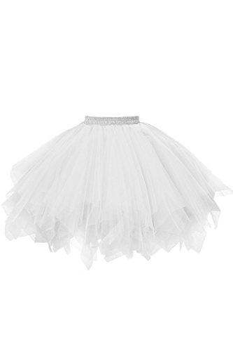 (Musever 1950s Vintage Ballet Bubble Skirt Tulle Petticoat Puffy Tutu White Large/X-Large)