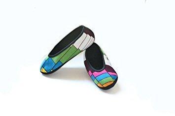 Nufoot Ballet Flats Women's Shoes, Best Foldable & Flexible Flats, Slipper Socks, Travel Slippers & Exercise Shoes, Dance Shoes, Yoga Socks, House Shoes, Indoor Slippers, Color Block, Large