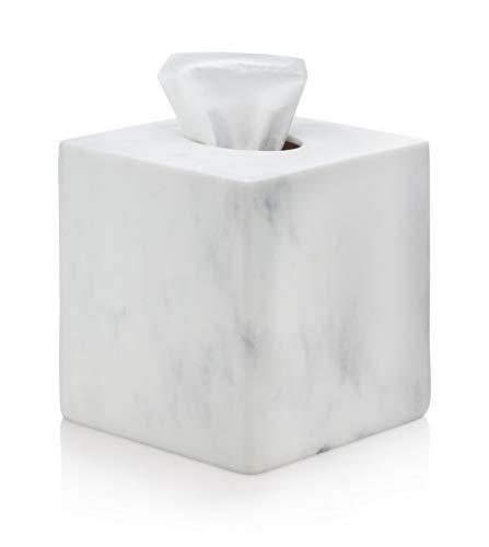 EssentraHome White Square Tissue Box Cover for Vanity Countertops