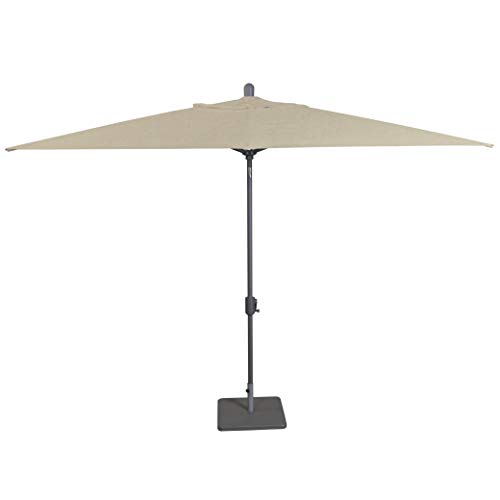 Secret Garden Home Goods Laguna Cove 10' x 6.5' Rectangular Auto Tilt Market Umbrella (Starring Grey, Sunbrella- Antique Beige) ()