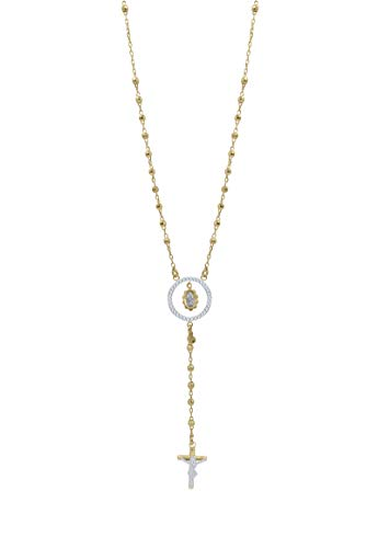 Amata Fine Jewelry 18K Yellow Gold Plated Sterling Silver CRYSTALART Rosary Cross Pendant Necklaces for Women - Crystal Studded with Swarovski Austrian Crystals (4mm Diamond Cut Rosary Gold) (Gold Plated Rosary)