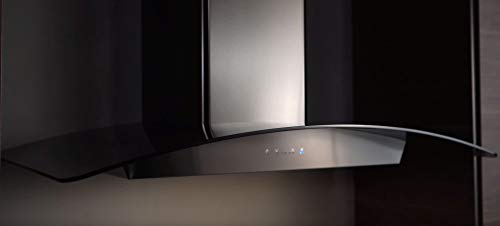 Zephyr ZRV-M90BBSGG 600 CFM 36 Inch Wide Wall Mount Range Hood with ICON Touch Controls and Airflow Control Technology from the Essentials Europa Collection