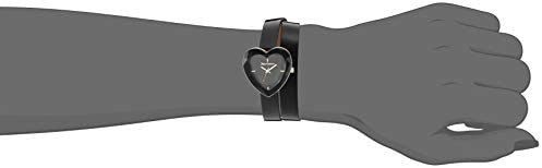 Juicy Couture Black Label Women's Heart Shaped Gold-Tone and Black Leather Strap Watch, JC/1200BKBK