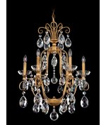 Schonbek 5653-22A Milano 4-Light 22.5″W Chandelier with Clear Spectra Crystal, Heirloom Gold