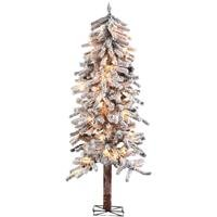 5' Alpine Christmas Tree with 100 Clear Lights with Flocked and Stand - Flocked Alpine Tree