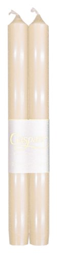 Entertaining with Caspari 10-Inch Taper Dripless, Smokeless, Unscented Candles, Ivory, Set of (White Palm Wax Pillar)