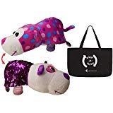 FlipaZoo FlipQuin ( Gu Gu Panda / Mabli Monkey ) Plush Toy Pillow with Reversible Sequins + Flip-A-Tote Combo