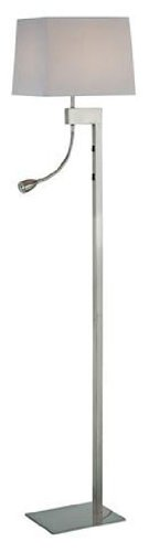 Lite Source LS-81016PS/WHT Fritzi Floor Lamp with Reading Light, Polished Steel with White Fabric Shade - Lite Source Floor Lamp With Reading Light with Polished Steel body, from the Fritzi Collection White Fabric Shade Shade Dimensions: 10.75-Inch top x 12x12-Inch bottom x 9.5-Inch height - living-room-decor, living-room, floor-lamps - 21SqGIT%2BwRL -