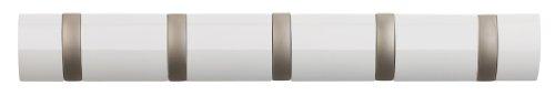 Umbra 318850-660 Flip Garderobenhakenleiste mit 5 Haken, Wandhaken, weiß hochglanz