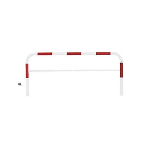 【個人宅配送不可】HW98698 直送 スチール製バリカー 横型コノ字型アーチ型U字型車止めポール(スタンダードタイプ) 中桟付中桟あり φ60.5xt2.8 W2000 H650(mm) 赤白色   B018QMVA1Q