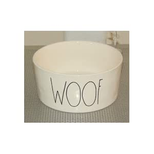"Rae Dunn WOOF Large 6"" Ceramic Dog Bowl"