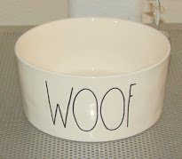 "Rae Dunn WOOF Large 6"" Ceramic Dog Bowl"
