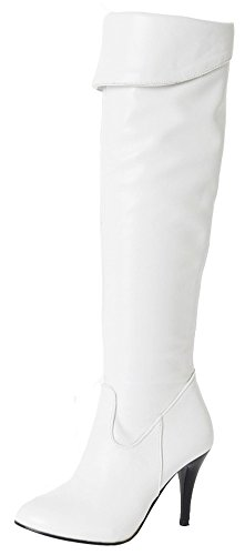 Summerwhisper Women's Sexy Plain Round Toe Stiletto High Heel Side Zipper Over the Knee Long Biker Boots Shoes White 7.5 B(M) US by Summerwhisper