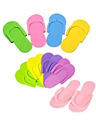 SQingYu 12 Pairs Colorful Disposable Foam Nail Art Slipper EVA Line Spa Slippers,Nail Tools Hotel Home Travel Portable Flip Flop