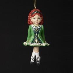 Kurt Adler Irish Girl Dancer in Green Dress Christmas Ornament ()
