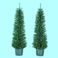 Kurt Adler 5-Foot Pre-Lit Potted Tree Set (Set of 2 Trees) (Potted Christmas Tree)