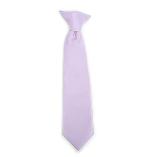 - Boy's Solid Clip on Tie (14 inch, Lavender)