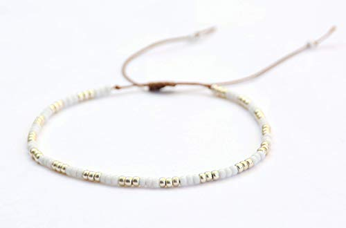Beaded Anklet for Women, Boho Native American Style, Unique White & Silver Hippie Beach Anklet, Handmade by Tribes