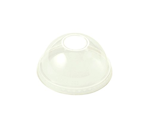 World Centric CPL-CS-12DP 100% Compostable Ingeo Dome Lids, No Straw Hole, for 9Q - 24 oz. Cups, Clear (Pack of 1000) by World Centric