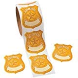 Fun Express Police Badge Name Tag Stickers Roll of 100 School Party Supplies -