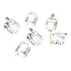 C2G RJ11 6x4 Modular Plug for Flat Stranded Cable - 100pk - 100 Pack - RJ-11 - Clear