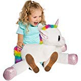 Gitzy 25 Inch Large Rainbow Unicorn Stuffed Animal Girls Kids Toddler Plush Toy Pillow Home Travel ()