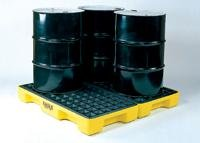 30 Gal Sump, 10,000 Lb Capacity, 4 Drum, Polyethylene Platform