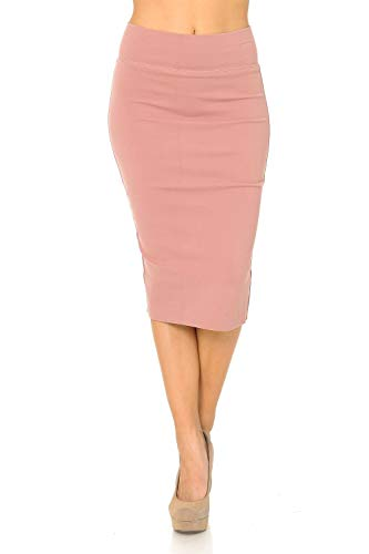 Auliné Collection Womens Solid Fitted High Waist Stretch Midi Ponte Pencil Skirt Blush M ()