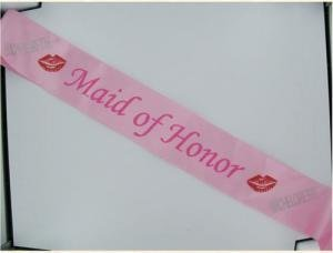 Maid Of Honor Sash W/Stones Pink by Saphorix