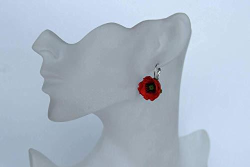 (poppies earrings, flower earrings, red earrings, birthday gift, cold porcelain earrings, gift for her, flower jewellery, poppy drop earrings, bridesmaids earrings, poppy gift)
