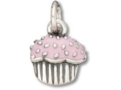 Sterling Silver and Pink Enamel Strawberry Cupcake Charm ()