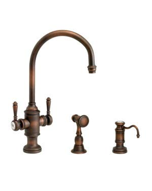 (Waterstone 8030-2-CHB Hampton Two Handle Kitchen Faucet 2pc. Suite Chocolate Bronze)