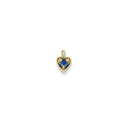 Blue Sapphire Yellow Brooch (14k Yellow Gold September Blue Sapphire Birthstone Heart Charm)