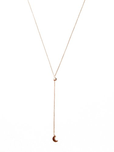 HONEYCAT Moon & Crystal Star Crystal Lariat Y Necklace in 18k Rose Gold Plated   Minimalist, Delicate Jewelry (RG) ()