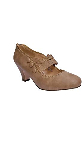 V-Luxury Womens 36-MINA4 Closed Toe Mary Jane High Heel Shoes Taupe 8