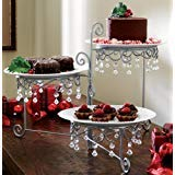 (Beaded 3 Tier Silvertone Swivel Server Dessert/CAKE SNACK STANDARD ZW-B0047)