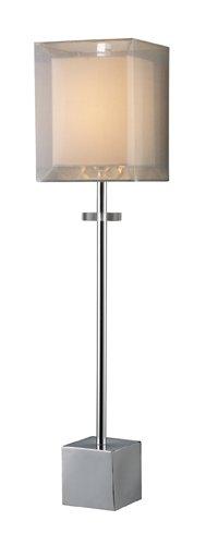 Chocolate Silk Shade Table Lamp - Dimond D1408 Sligo Buffet Lamp, Chrome, Double Shade