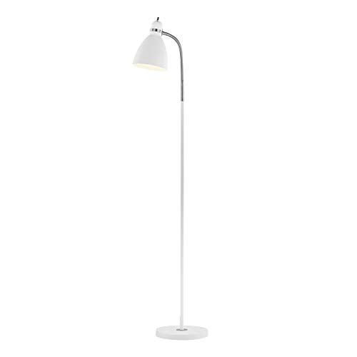 (Light Society LS-F258-WH Hadley White Adjustable Gooseneck Floor Lamp with Nickel Accents, Contemporary Modern Style)