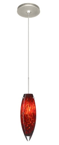 Besa Lighting 1XP-409641-SN Juliette 1-Light 12-volt Mini-Pendant, Garnet Glass Shade with Satin Nickel Finish