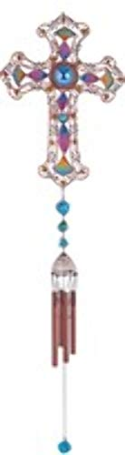 StealStreet SS-G-99904 Wind Chime Copper & Gem Cross Hanging Garden Decoration Collection (Religious Chimes)