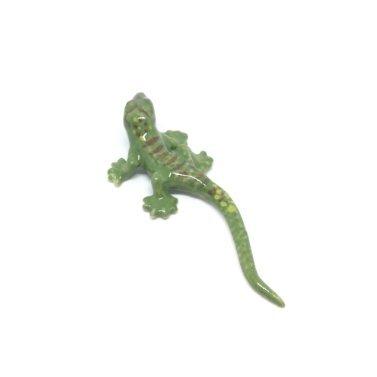 Handmade Porcelain Figurine - Studio one Handmade Animal Figurine Porcelain Ceramic mini Green Gecko Collection Best Gift