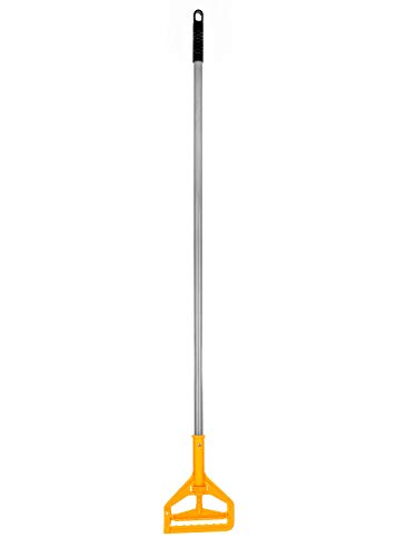 Alpine Industries Commercial Quick-Change Fiberglass Mop Handle - Industrial Mopping Tube w/Easy Grip & Heavy Duty Rag Holder - Long Handled Mop Head Replacement Gripper for Wet & Dry Floor