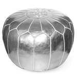 Moroccan Pouf Ottoman Color: Silver by IKRAM DESIGN