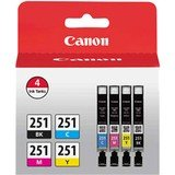 Canon CLI-251 BK/CMY 4 PK Value Pack Ink for Canon InkJet Printers