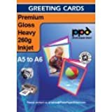 A5 Inkjet Greeting Card Paper Gloss Super 260g With FREE Envelope Pack of 50 **Spring Deal**