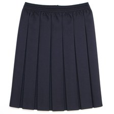Navy Unique Girls School Wear Elasticated Box Pleat Skirt