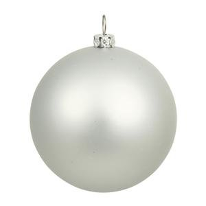 Silver Christmas Matte Ornaments (Vickerman Drilled UV Matte Ball Ornaments, 6-Inch, Silver, 4-Pack)