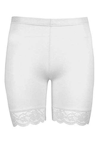 Lace Stretch Tights - Women Plus Size Lace Insert Stretch Short Leggings Gym Tights Viscose Active Shorts Cycling Hot Pants (2XL, White)