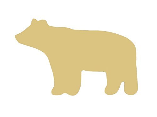 Bear Cutout Unfinished Wood Brown Grizzly Polar Black Ursus Animal Zoo Forest MDF Shape Canvas Style 1 (6